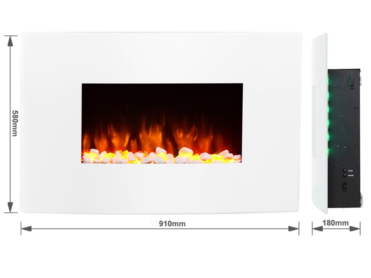 endeavour fires egton white wall mounted electric fire white