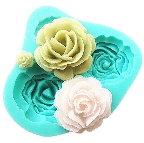 (Pard 4 Size Roses Flower Silicone Cake Mold Chocolate Sugarcraft Decorating Fondant Fimo Tool,)