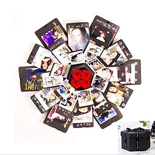 Creative Explosion Box -Scrapbook DIY Photo Album Box for Birthday Anniversary Valentine Day Wedding(Black). -