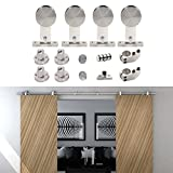 HomeDeco Hardware 8 FT- 16 FT Modern Design Indoor Sliding Door Hardware Stainless Steel Rails Track Set (10 FT Double kit)