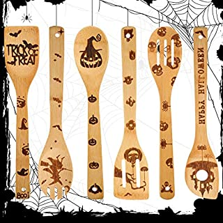 6 Pieces Halloween Wooden Spoons Set Burned Bamboo Cooking Utensils Kitchen Bamboo Spoons Wood Slotted Spoon Spatula for Halloween House Warming Wedding Home Kitchen Tableware