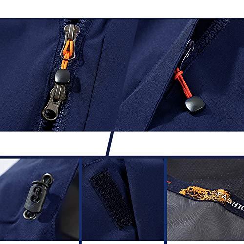 Caldo 1 3 Antivento Viaggio Uomo All'aperto Giacche In Sportivo Blue Liuyl Pile Cappuccio Giacca Da Staccabile Trekking Impermeabile Montagna Con xqOwfZx8cR