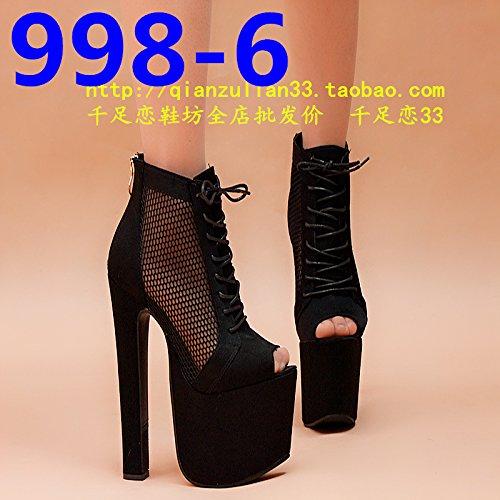 zapato de de noche de damas tacon sandalias cm 18 998 XiaoGao negro super 6 tienda de 4pxnwXxBqa