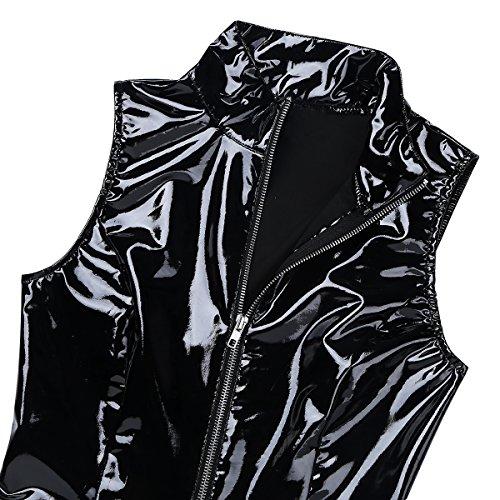 Clubwear Bodycon Haut Moulante Noir Danse Freebily de Mini Cuir XXL Cocktail Robe Femme Manches Zippe Robe de M Simili Soire Col Robe Bal sans SS6qT