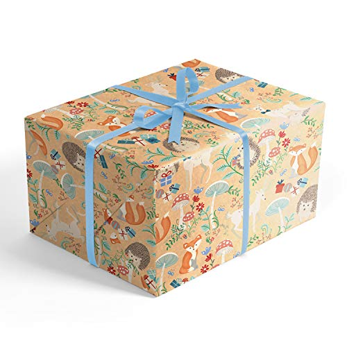 Hedgehog and Friends Fairytale Forest Folded Wrapping Paper, 2' x 10' Folded Gift wrap with Foxes and Deer, Wrap & Revel® ()