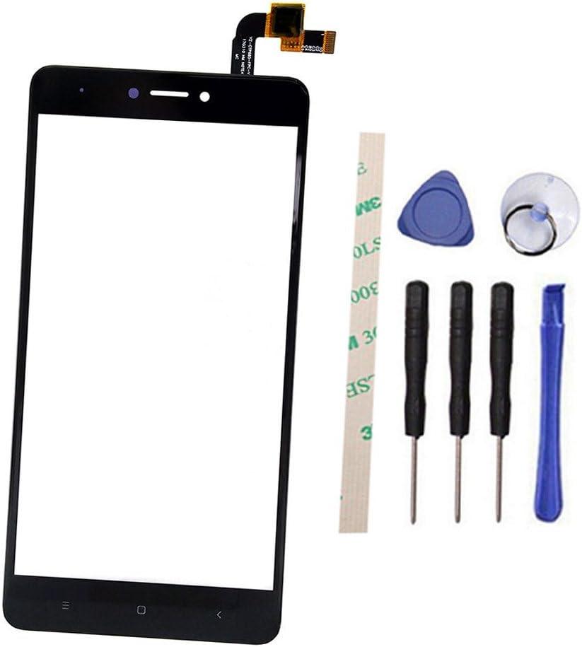 General Front Toque Pantalla Digitizer Vaso Reemplazo Parte para Xiaomi Hongmi Redmi Note 4X/Note 4 Global Version Qualcomm Snapdragon 625 (No LCD Display) with Adhesive (Negro)