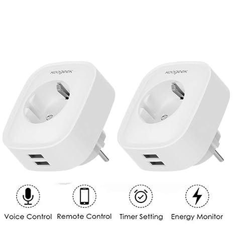 Enchufe Inteligente WiFi, Koogeek Enchufe Inteligente USB, Compatible con Alexa y Google Home, con 2 Puertos USB, Control Remoto de voz, IOS y ...
