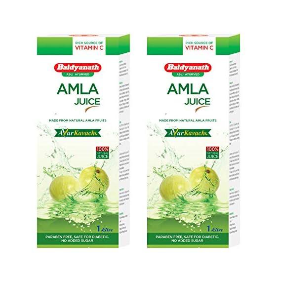 Baidyanath Natural Organic Amla Juice - 1 L (Pack of 2)