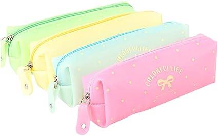 itemer Cute estuche lápiz bolsa Papelería Bolsa de cosméticos bolsa de almacenamiento de silicona para escuela estudiantes: Amazon.es: Oficina y papelería