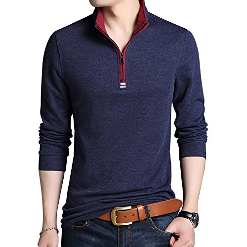 Wishere Mens Casual Slim Fit Long Sleeve Collared Polo T Shirt