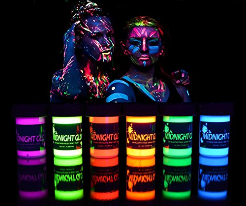 UV Neon Face & Body Paint Glow Kit (6 Bottles 0.75 oz. Each) - Top Rated Blacklight Reactive Fluorescent Paint - Safe, Washable, Non-Toxic, By Midnight (Day Of The Dead Compared To Halloween)