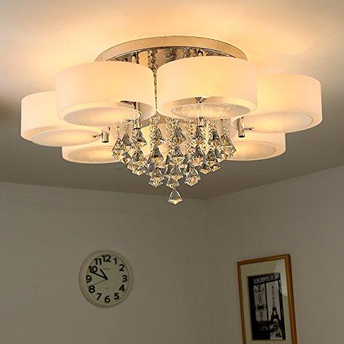 Natsen® Kristall Deckenleuchte 7-flammig LED E27 warmweiß Ø90cm ...