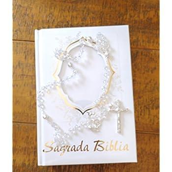 Sagrada Biblia En Espanol Blanca con Dorado Con un Rosario de Cristal