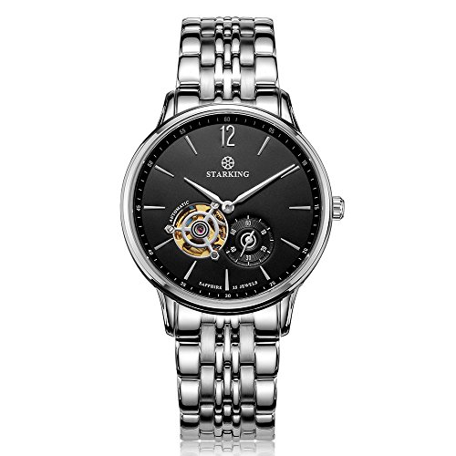 STARKING Men's AM0213SS12 Skeleton Subdial Black Dial Automatic Stainless Steel Linked Bracelet Watch