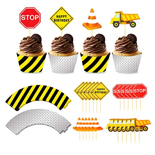 Phogary 24pack Construction Cupcake Toppers and Wrappers, 24-Piece Construction Zone Cupcake Baking Supplies, Kids Birthday Party Favors for Cake and Muffin Decorations ()