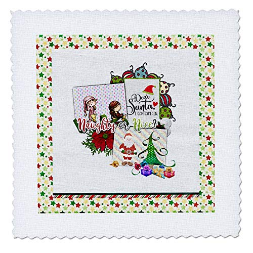 - 3dRose Beverly Turner Christmas Design - Naughty or Nice, Kids in Pajamas, Santa, Tree, Gifts, Ornaments, Stars - 10x10 inch Quilt Square (qs_302968_1)