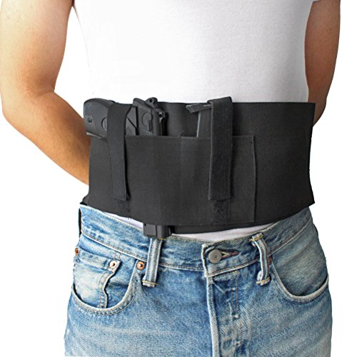 Chengyuan Belt-Holster Versatile Belly Band Holster Concealed Carry with Magazine Pocket/Pouch for Women/Men Fits Glock, Ruger LCP, M and P Shield, Sig Sauer, Kahr, Beretta, 1911 ()