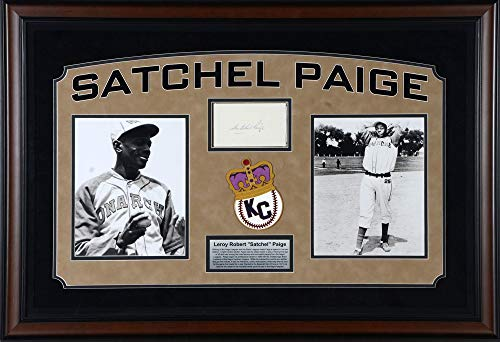 (Satchel Paige Kansas City Monarchs Deluxe Framed Autographed Cut Signature - PSA/DNA Certified - MLB Cut Signatures )