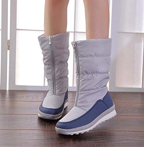 con al Gray del parte punta 5cm aire 4 botas redonda pantorrilla gruesa felpa Botas inferior invierno media algodón Mujeres cálida de de de nieve botas antideslizante cremallera impermeable ligera Snekers wpA1qA