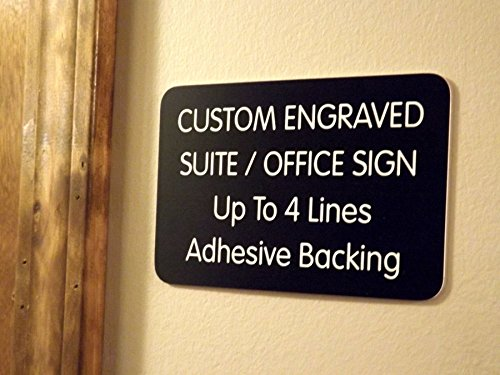 Custom Engraved 4x6 Black w/White Lettering Door Suite Wall Sign | Name Plate | Personalized Wall Plaque | Business Doctor Law Firm Home Office Cafe Shop | Up to 4 Text Lines | Adhesive Backed