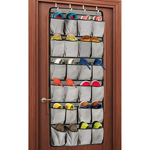 Unjumbly Over the Door Shoe Organizer, 24 Large Pocket Shoe Rack Over the Door Complete with 4 Strong Metal Over Door Hooks