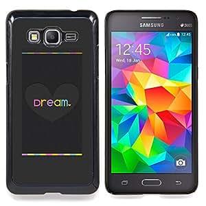 /Skull Market/ - Dream Heart Love Grey Brushed Metal For Samsung Galaxy Grand Prime G530H G5308 - Mano cubierta de la caja pintada de encargo de lujo -