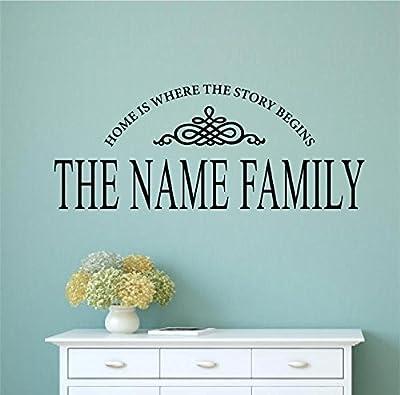 Enchantingly Elegant Custom Name Home Is Where Story Begins Vinyl Decal Wall Art Words Sticker Lettering Wedding Gift