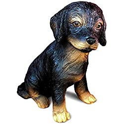 Whole House Worlds Animal Lovers Black and Tan Lab Puppy, Seated Dog Garden Statue, Ultra-realistic Figurine, 6 Inches Tall, Hand Cast and Painted, Polyresin, by WHW