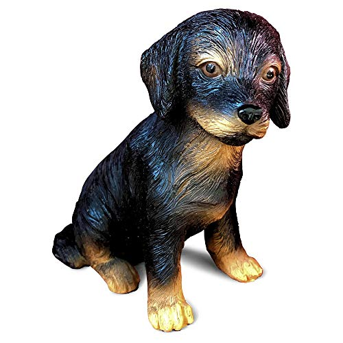 Whole House Worlds Animal Lovers Black and Tan Lab Puppy, Seated Dog Garden Statue, Ultra-Realistic Figurine, 6 Inches Tall, Hand Cast and Painted, Polyresin, by - Painted Hand Decorations Polyresin