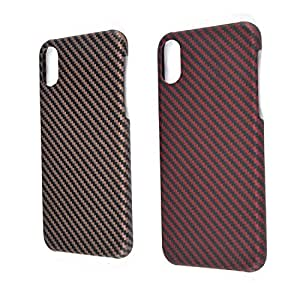 iPhone X Case,Jun-star Aramid Fiber [Real Body Armor Material] Twill Phone Case,Scratch Resistant Luxury Snugly Fit Case for iPhone X (Red&Coffee)