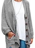 Women's Long Sleeve Button Down Oversized Open Front Cardigans Loose Chenille Knit Sweater Coat Casual Outwear Pocket Grey XL 16 18