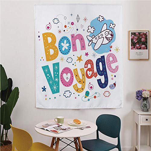 Going Away Party Decorations Blackout Window curtain,Free Punching Magic Stickers Curtain,Happy Message Colorful Cartoon Funny Faced Airplane Journey,for Living Room,study, kitchen, dormitory, Hotel,M