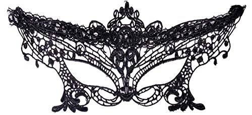 [Simplicity Women's Lace Nightclub Belly Dance Masquerade Party Eye Mask, Black] (Evil Eye Skull Costumes)