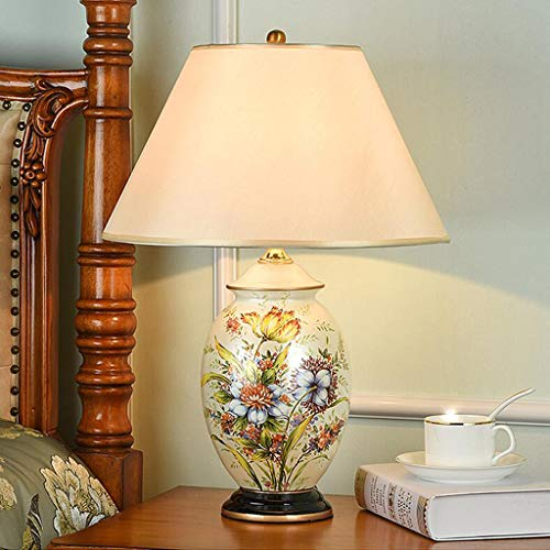 LBX Simple Fabric Lampshade Ceramic Table Lamp Bedroom Bedside Lamp Living Room Study Room Classical Desk Lamp Retro Elegant Table Light Fashion Lighting
