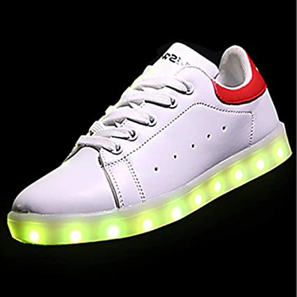 TTSHOES Mujer Zapatos PU Primavera/Otoño Zapatos con Luz Zapatillas De Deporte Dedo Redondo Negro