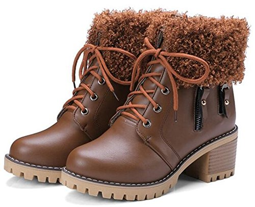 IDIFU Toe Mid Lace Heels Ankle Round Fluffy Chunky Women's Unique Boots Up Brown Fur q4r6aq8