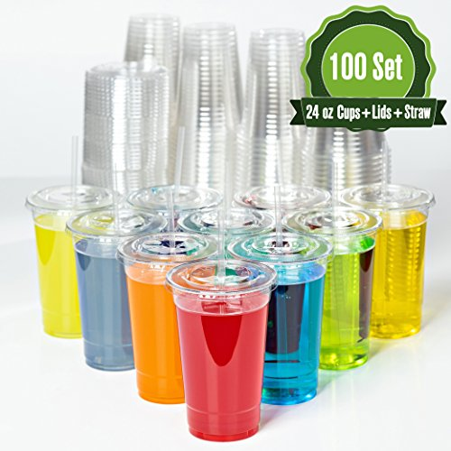 Plastic Cups with Lids and Straws [ 24oz -100 Sets ] Clear Disposable Cups Ideal for Iced Coffee, Juice, Bubble Boba, Smoothie, Soda, Cocktail Party and Tea etc.