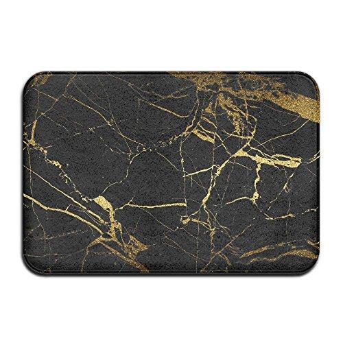 TOGEFRIEND Black & Gold Marble Doormat Anti-Slip House Garden Gate Carpet Door Mat Floor ()