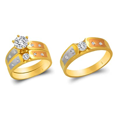 Trio Ring Set 14k Gold Two Tone - 3-Piece Wedding His Engagement Her Band Rings Sets ...