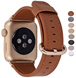 Apple Watch Band 38mm Women - PEAK ZHANG Light Brown Genuine Leather Replacement Wrist Strap with Gold Adapter and Buckle for Apple Watch Series 2/1/Edition/Sport