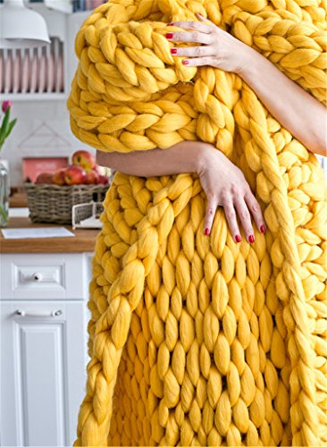 Chunky Knit Throw Blankets, HomeModa Studio Super Bulky Soft Warm Braid Knit Rug Couch Bed Lounge Home Decorator (Throw: 100x120 cm, Yellow)