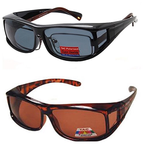 2 Pair Polarized Fit Over Wear Over Prescription Glasses Sunglasses - Italian - Shades Wrap Around