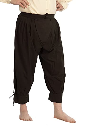 Deluxe Adult Costumes - Historically accurate pirate dark brown cotton button cod slops trewes breeches by Dress Like A Pirate