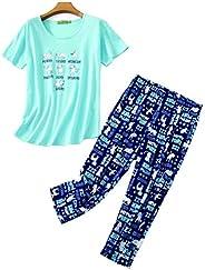 VECARDI Womens Plus Size Pajamas Set The New Summer Sleepwear Set Cartoon Print Loungewear