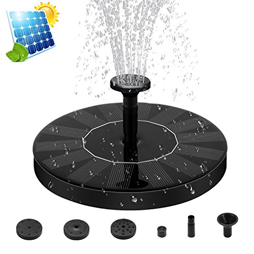 ZealBea Focus Solar Fountain Pump Solar Powered Bird Bath Fountain Freestanding Submersible Solar Outdoor Panel Kit Water Pump for Birdbath, Pond, Pool,Garden Fish Tank and Lawn【2018 Upgraded】 by ZealBea Focus
