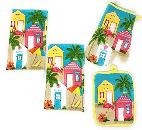 Coastal Living Seascapes Kitchen Dish Towels Potholder Oven Mitt Set, 4-Piece Set (by The Sea Flamingo)