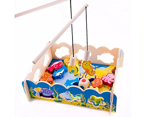 Magnetic Wooden Fishing Game and Puzzle with Ocean Animal Magnets Lacing Sea Animal Blocks