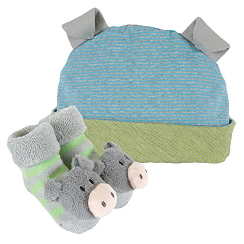 Baby Blue Pig (Stephan Baby Rattle Socks and Knit Cap Gift Set, Stripy Blue/Green Pig)