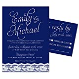 100 Wedding Invitations Navy Blue Lace Design + Envelopes + Response Cards Set