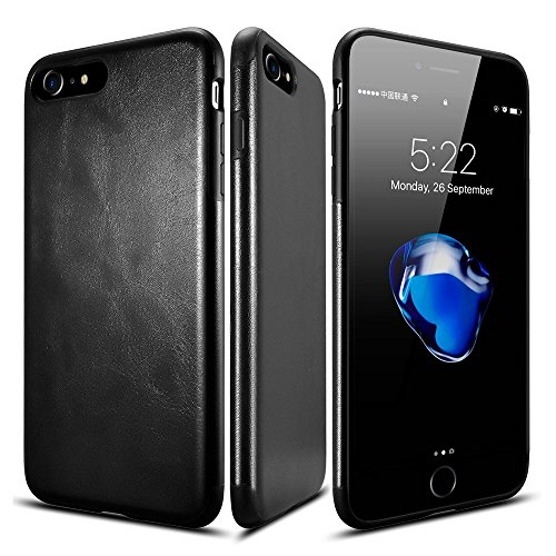 Cheap Cases iPhone 7 plus case, Pelotek Jet black luxury leather fancy design elegant..